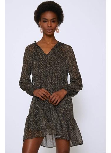 Quzu Çıtır Çiçek Yaka Bağlamalı Şifon Elbise Haki